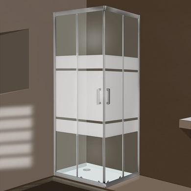 Box doccia quadrato 2 ante fisse + 2 ante scorrevoli Sinque 70 x 70 cm, H 190 cm in vetro temprato, spessore 5 mm serigrafato argento