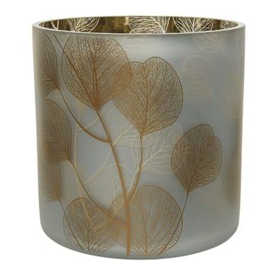 Portacandela bianco/oro H 15 cm,