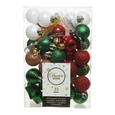 Sfera natalizia in plastica Ø 4.5 cm confezione da 33 pezzi
