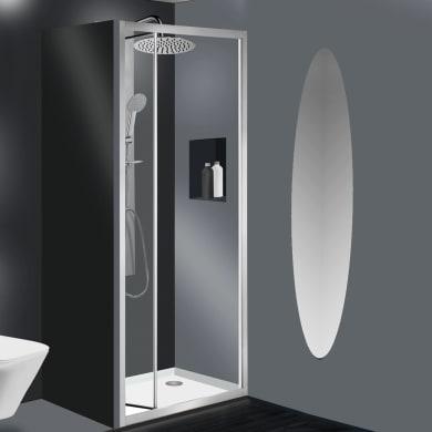 Porta doccia pieghevole Essential 80 cm, H 185 cm in vetro temprato, spessore 4 mm trasparente satinato
