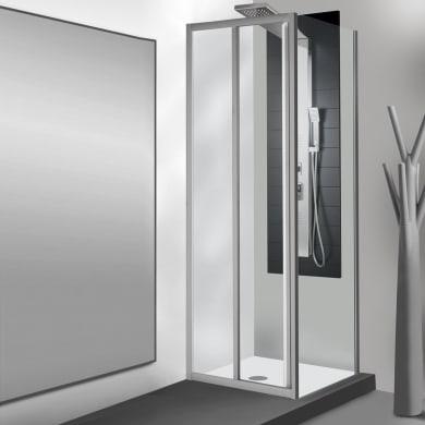 Box doccia angolare porta scorrevole e lato fisso rettangolare Essential 120 x 70 cm, H 185 cm in vetro temprato, spessore 4 mm trasparente argento
