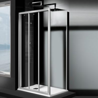 Porta doccia 3 ante scorrevoli Essential 110 cm, H 185 cm in vetro temprato, spessore 4 mm trasparente satinato
