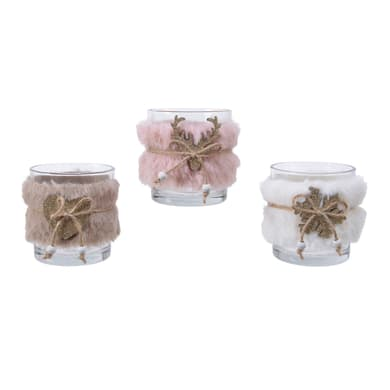 Portacandela blush pink H 7.5 cm, L 7 x L 7 cm