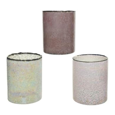 Portacandela white - frosted lilac - blush pink H 15 cm, L 12 x L 12 cm