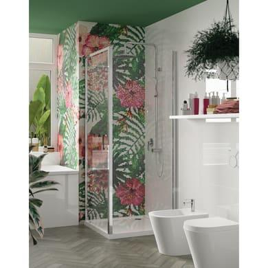 Box doccia angolare con porta pieghevole e lato fisso rettangolare Ocean 80 x 70 cm, H 195 cm in vetro temprato, spessore 5 mm trasparente argento