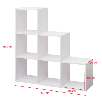 Scaffale in legno in kit 6 ripiani L 97.5 x P 29 x H 97.5 cm bianco