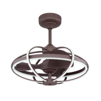 Ventilatore da soffitto LED integrato Menima, marrone, con telecomando
