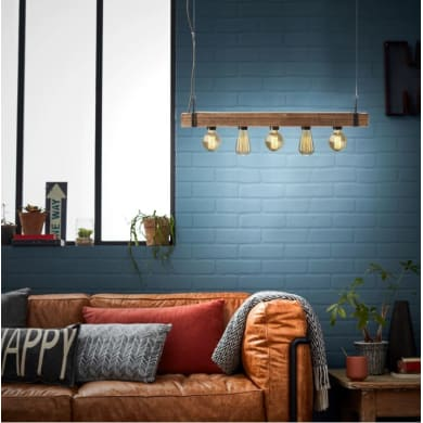 Lampadario Industriale Woodhill marrone in metallo, L. 80 cm, 5 luci, BRILLIANT