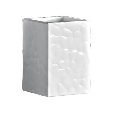 Porta spazzolini in ceramica bianco