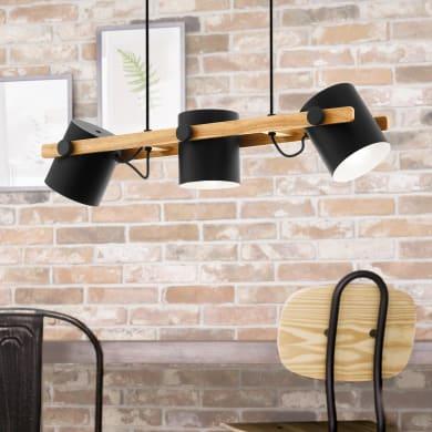 Lampadario Industriale Hornwood nero in metallo, D. 25 cm, L. 110 cm, 3 luci, EGLO