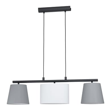 Lampadario Almeida grigio, bianco, nero in tessuto, L. 86 cm, 3 luci, EGLO