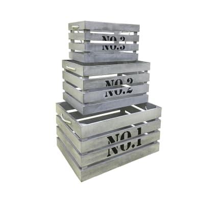 Contenitore L 41 x H 22 x P 30 cm bianco grigio shabby