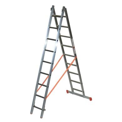 Scala a sfilo in alluminio 9+9 gradini per lavori fino a 5.9 m