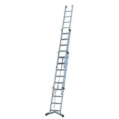 Scala a sfilo in alluminio 9+10+10 gradini per lavori fino a 8.1 m