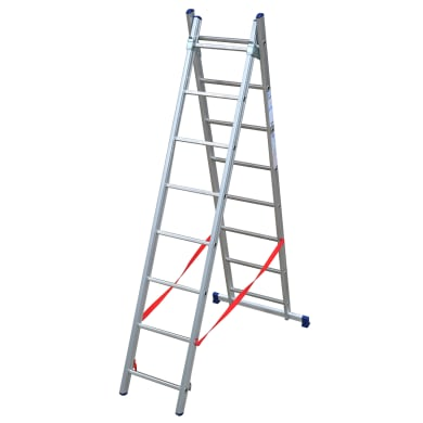 Scala a sfilo in alluminio 8+8 gradini per lavori fino a 4.6 m