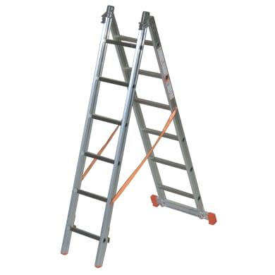 Scala a sfilo in alluminio 6+6 gradini per lavori fino a 4.1 m