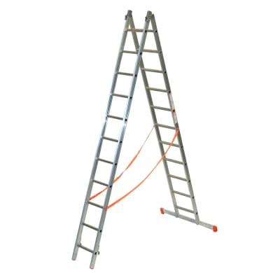 Scala a sfilo in alluminio 11+11 gradini per lavori fino a 6.8 m