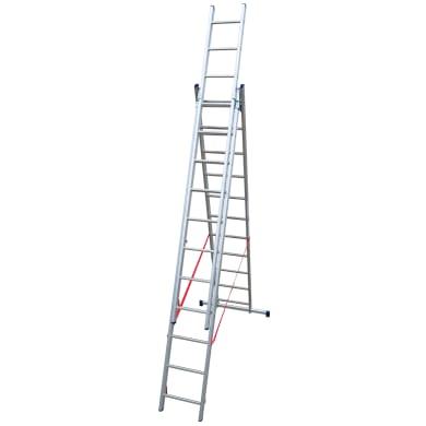 Scala a sfilo in alluminio 11+11+11 gradini per lavori fino a 7.96 m