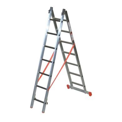 Scala a sfilo in alluminio 7+7 gradini per lavori fino a 4.7 m
