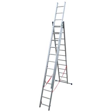 Scala a sfilo in alluminio 12+12+12 gradini per lavori fino a 9.08 m