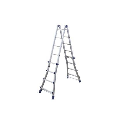 Scala telescopica in alluminio 5+4 gradini per lavori fino a 5.5 m