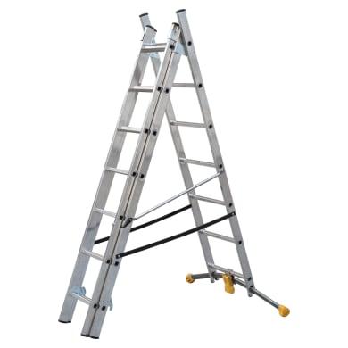 Scala ad appoggio HAILO in alluminio 3x7 gradini per lavori fino a 4.96 m