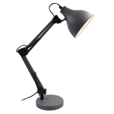 Lampada da scrivania Ennis grigio, in metallo, E27 MAXE27 MAX 40WW IP20 INSPIRE