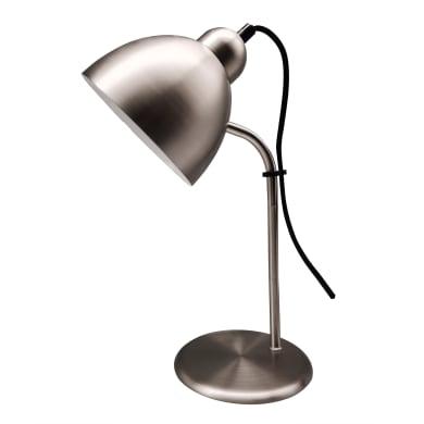 Lampada da scrivania Leo nickel, in metallo, E27 MAX25W IP20 INSPIRE