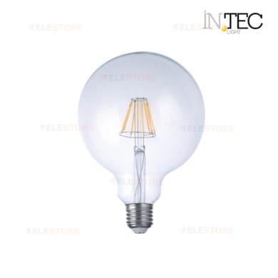 Lampadina LED filamento, E27, Globo, Trasparente, Luce fredda, 8W=1055LM (equiv 80 W), 300°