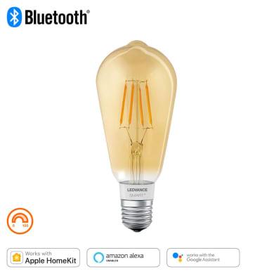 Lampadina smart lighting LED filamento, E27, Goccia, Ambra, Luce calda, 60W=600LM (equiv 45 W), 320° , LEDVANCE