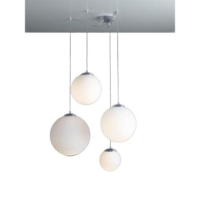 Lampadario Glamour City bianco in vetro, 4 luci, FAN EUROPE