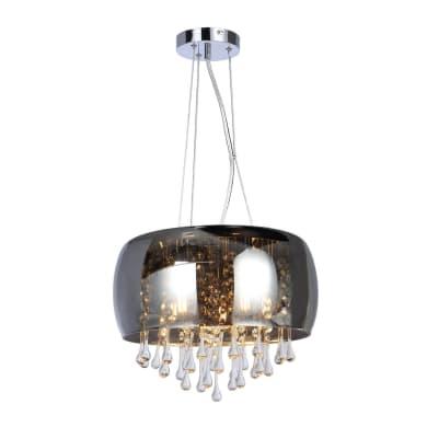 Lampadario Neoclassico Kalla grigio fumè in vetro, 5 luci, GLOBO