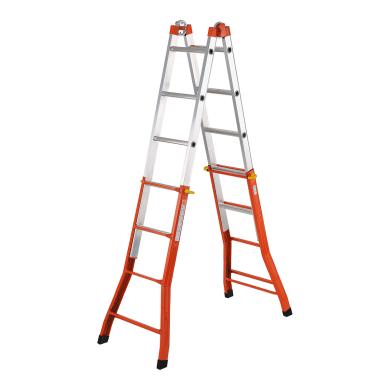 Scala telescopica in acciaio e alluminio 4+5 gradini per lavori fino a 5.21 m