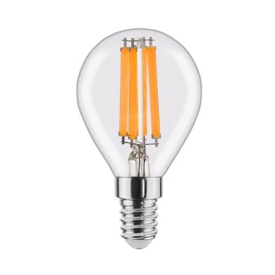 Lampadina LED filamento, E14, Globo, Trasparente, Luce naturale, 6W=806LM (equiv 60 W), 360° , LEXMAN