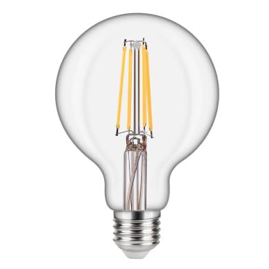 Lampadina LED filamento, E27, Globo, Trasparente, Luce naturale, 8W=1055LM (equiv 75 W), 360° , LEXMAN