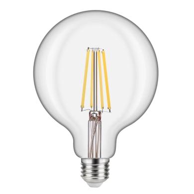 Lampadina LED filamento, E27, Globo, Trasparente, Luce calda, 12W=1521LM (equiv 100 W), 360° , LEXMAN
