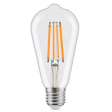 Lampadina LED filamento, E27, Goccia, Trasparente, Luce calda, 8W=1055LM (equiv 75 W), 360° , LEXMAN