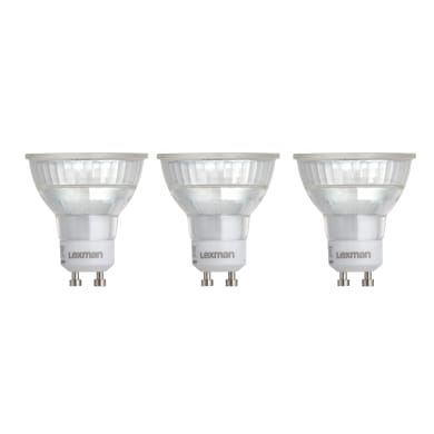 Set di 3  lampadine LED, GU10, Faretto, Trasparente, Luce naturale, 5.2W=460LM (equiv 50 W), 100° , LEXMAN