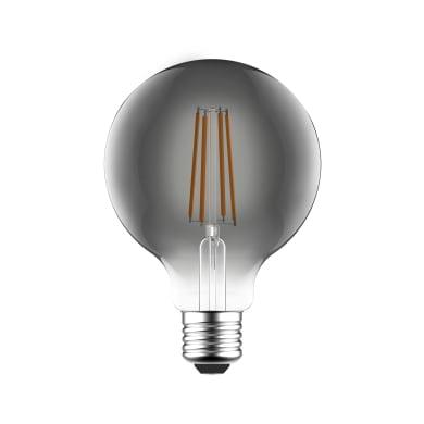 Lampadina LED filamento E27, Globo, Fumé, Nero, 7W=470LM (equiv 40 W), 360° , LEXMAN