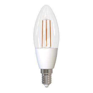 Lampadina smart lighting LED filamento, E14, Oliva, Trasparente, Luce calda, 4.5W=470LM (equiv 4,5 W), 320°