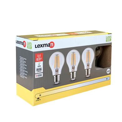 Set di 3  lampadine LED filamento, E27, Goccia, Trasparente, Luce calda, 6.5W=806LM (equiv 60 W), 360° , LEXMAN