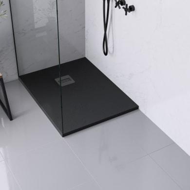 Piatto doccia ultrasottile resina sintetica e polvere di marmo Remix 70 x 90 cm nero