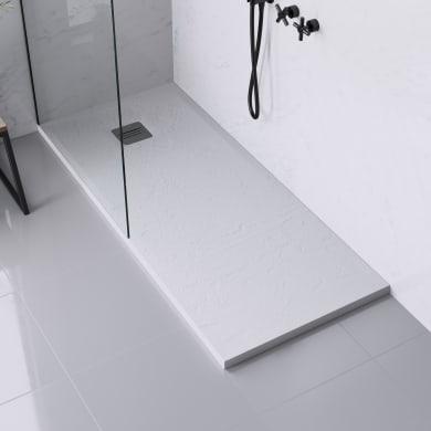 Piatto doccia ultrasottile resina sintetica e polvere di marmo Remix 70 x 160 cm bianco