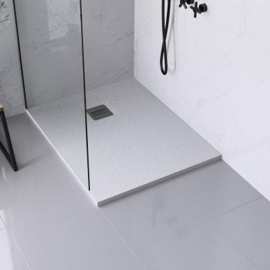 Piatto doccia ultrasottile resina sintetica e polvere di marmo Remix 80 x 100 cm bianco