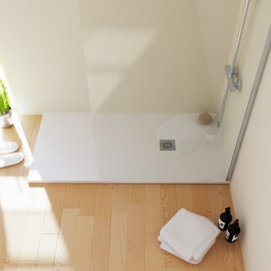 Piatto doccia resina Logic 80 x 100 cm bianco