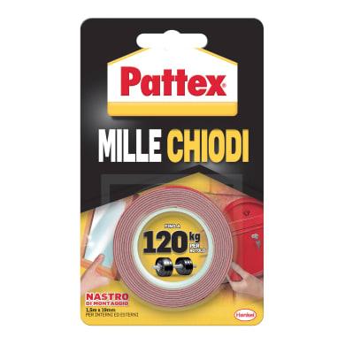 Nastro bi-adesivo PATTEX Millechiodi Tape 1.5 m x 19 mm bianco