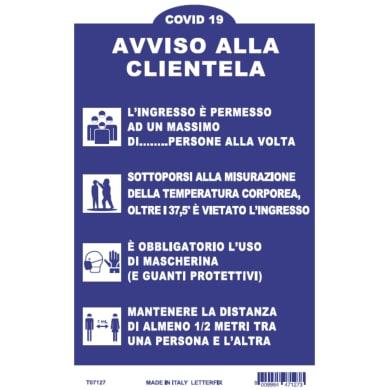 Cartello segnaletico vinile 20 x 30 cm