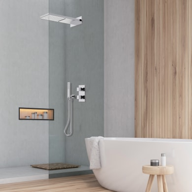 Soffione doccia Manhattan Ø 20 cm in inox grigio cromato