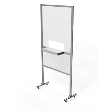 Schermo di protezione con passacarte policarbonato trasparente 100 cm x 200 cm, Sp 19 mm