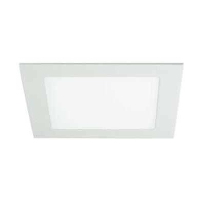 Faretto fisso da incasso quadrato Slim  in Alluminio bianco, 12x12cm LED integrato 8W 480LM IP20